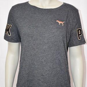 PINK Rose Gold BLING Dog Logo Gray T-Shirt NWT